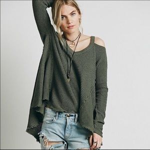 FREE PEOPLE Olive Green Moonshine Sweater